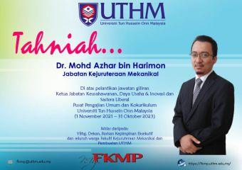 Tahniah Dr. Mohd Azhar bin Harimon atas lantikan Ketua Jabatan