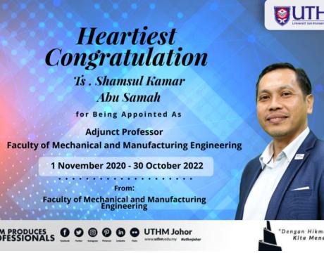 Tahniah! Ts. Shamsul Kamar Abu Samah as Adjuct Prof.