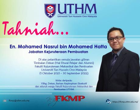 Tahniah En. Mohamed Nasrul bin Mohamed Hatta atas lantikan semula TDHEPA
